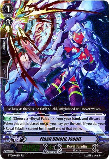 Cardfight Vanguard Descent of the King of Knights RR Rare Flash Shield Iseult BT01-011