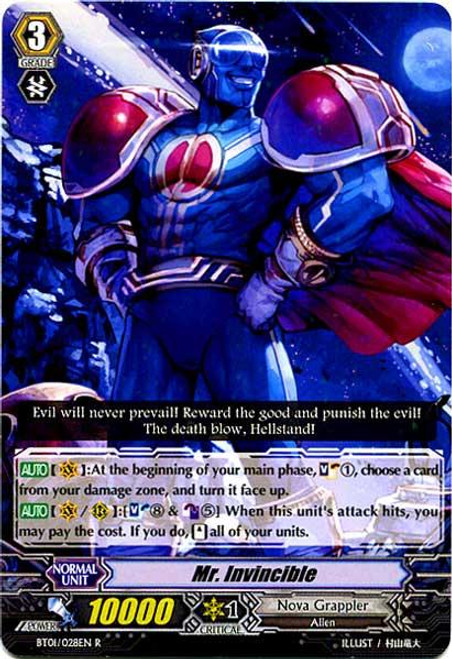Cardfight Vanguard Descent of the King of Knights Rare Mr. Invincible BT01-028