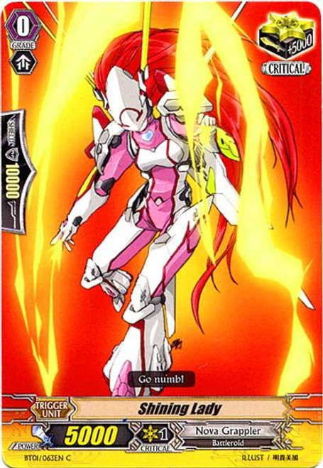 Cardfight Vanguard Descent of the King of Knights Common Shining Lady BT01-063