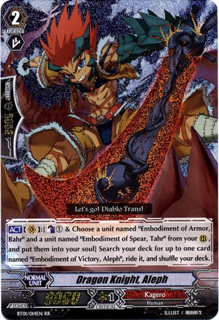 Cardfight Vanguard Descent of the King of Knights RR Rare Dragon Knight, Aleph BT01-014