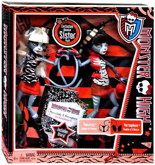 Monster High Meowlody & Purrsephone Exclusive 10.5-Inch Doll 2-Pack