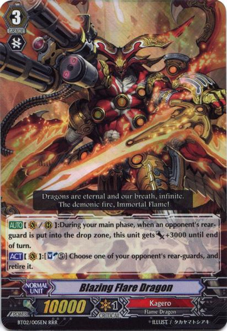 Cardfight Vanguard Onslaught of Dragon Souls RRR Blazing Flare Dragon BT02-005
