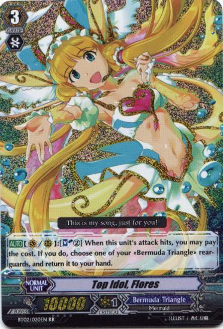 Cardfight Vanguard Onslaught of Dragon Souls RR Rare Top Idol, Flores BT02-020