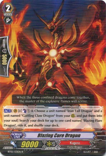 Cardfight Vanguard Onslaught of Dragon Souls Rare Blazing Core Dragon BT02-031