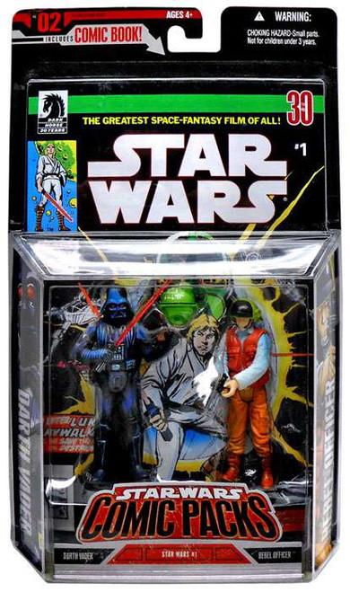 Star Wars A New Hope Comic Packs 2006 Darth Vader & Rebel Fleet Trooper Action Figure 2-Pack