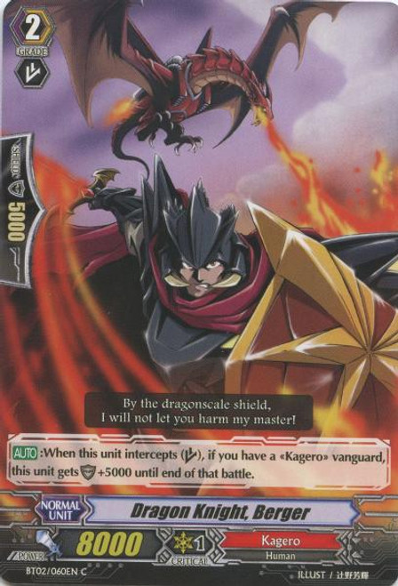 Cardfight Vanguard Onslaught of Dragon Souls Common Dragon Knight, Berger BT02-060