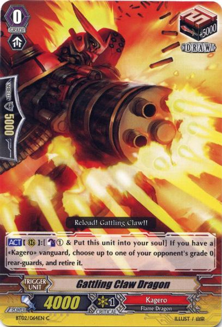 Cardfight Vanguard Onslaught of Dragon Souls Common Gatling Claw Dragon BT02-064