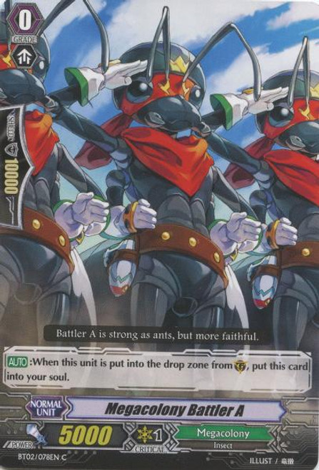 Cardfight Vanguard Onslaught of Dragon Souls Common Megacolony Battler AA BT02-078
