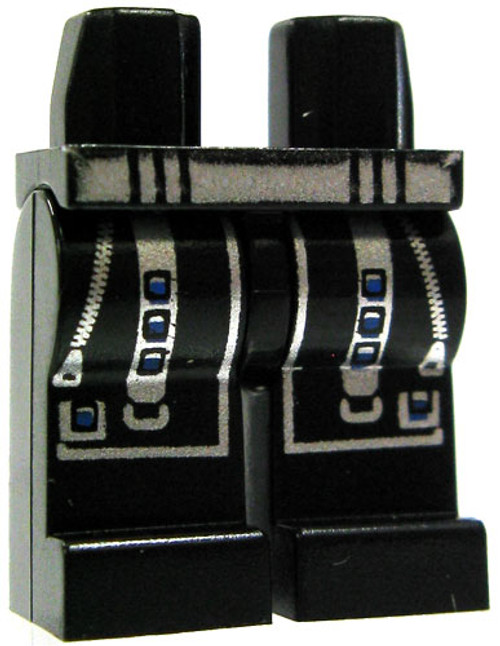 LEGO Minifigure Parts Black Legs with Silver Zippers & Straps with Blue Buttons Loose Legs [Loose]