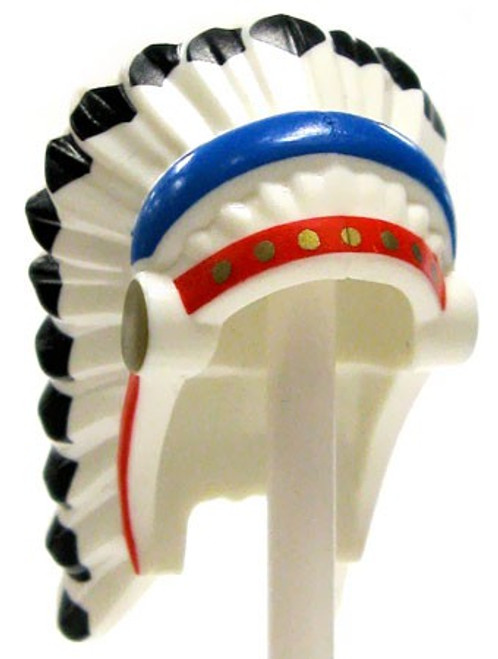 LEGO Headgear Feathered Indian Headdress with Red & Blue Trim & Black Hair [Loose]