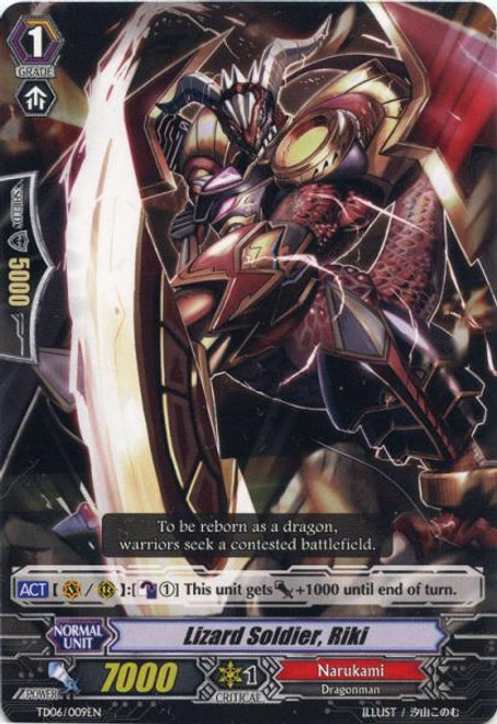 Cardfight Vanguard Resonance of the Thunder Dragon Fixed Lizard Soldier, Riki TD06/009
