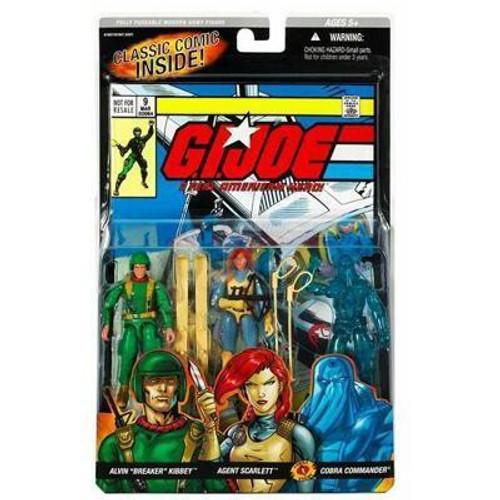 GI Joe Classic Comic Alvin Breaker Kibbey, Agent Scarlett & Cobra Commander Action Figure 3-Pack