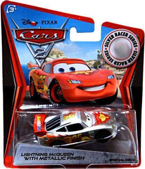 Disney Cars Cars 2 Silver Racer Series Lightning McQueen with Metallic Finish Exclusive Diecast Car