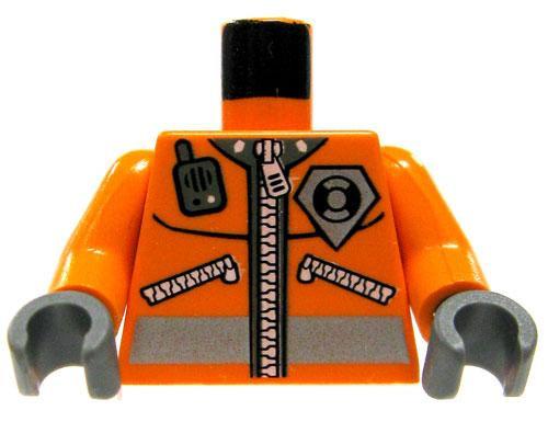 LEGO Minifigure Parts Orange Safety Jacket with Zipper, Radio & Badge Loose Torso [Loose]