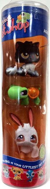 Littlest Pet Shop Halloween Black Cat, Jack o' Lantern Turtle & Ghost Bunny Figure 3-Pack
