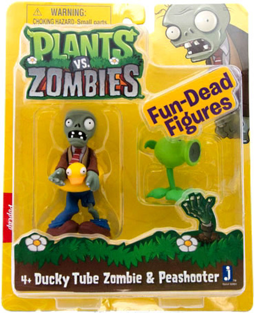 Plants vs. Zombies Fun-Dead Figures Ducky Tube Zombie & Peashooter 3-Inch Figure 2-Pack