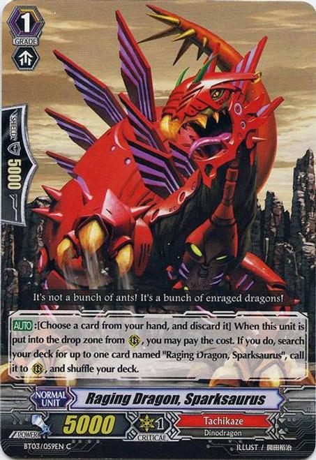 Cardfight Vanguard Demonic Lord Invasion Common Raging Dragon, Sparksaurus BT03-059