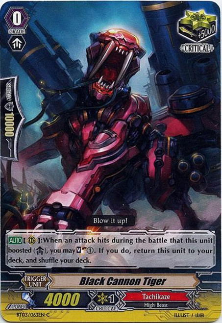 Cardfight Vanguard Demonic Lord Invasion Common Black Cannon Tiger BT03-063