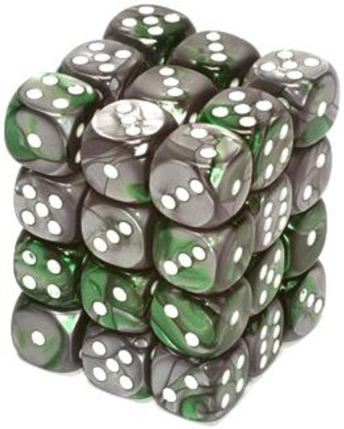 Chessex 6-Sided d6 Gemini 12mm Dice Pack #26841 [Green-Steel & White]
