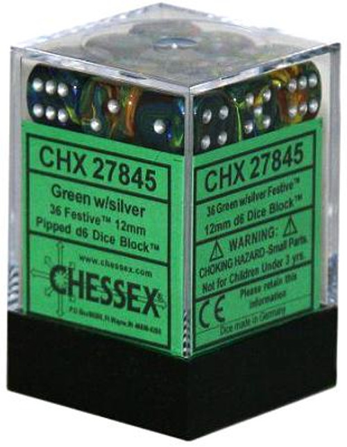 Chessex 6-Sided d6 Festive 12mm Dice Pack #27845 [Green & Silver]