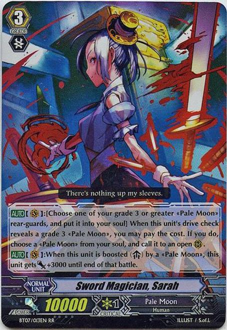 Cardfight Vanguard Rampage of the Beast King Double Rare RR Sword Magician, Sarah BT07-013