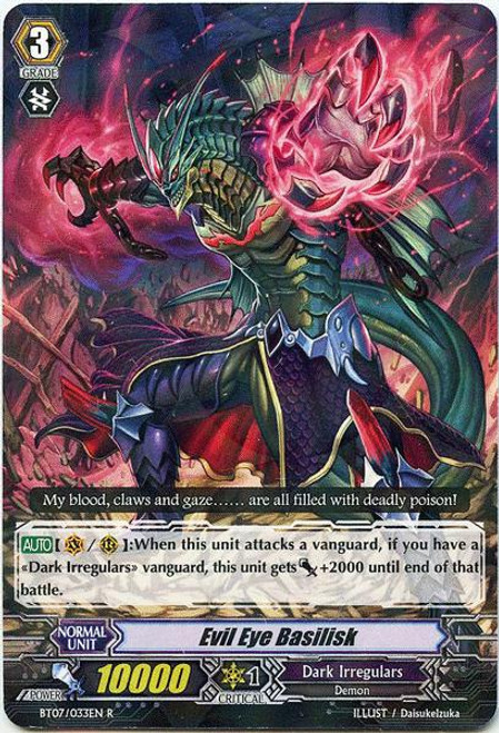 Cardfight Vanguard Rampage of the Beast King Rare Evil Eye Basilisk BT07-033