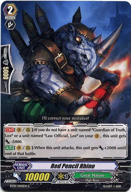 Cardfight Vanguard Rampage of the Beast King Common Red Pencil Rhino BT07-045