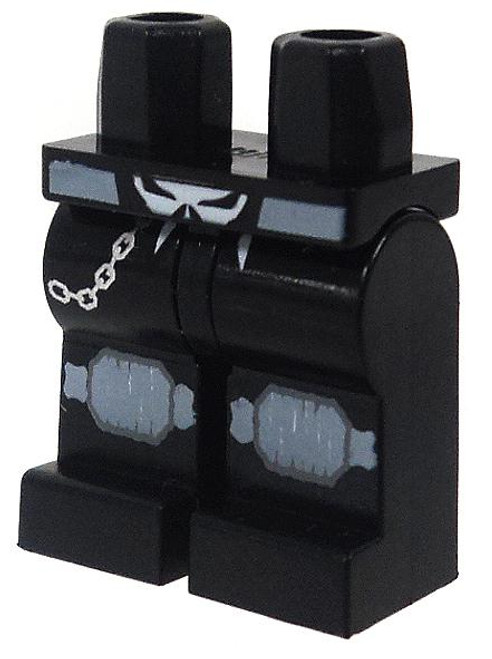 LEGO Space Police Minifigure Parts Black Legs with Skull Buckle, Knee Pads & Belt Chain Loose Legs [Loose]