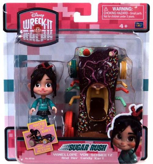 Disney Wreck-It Ralph Sugar Rush Racer Vanellope Von Schweetz & Her Candy Kart Figure Set