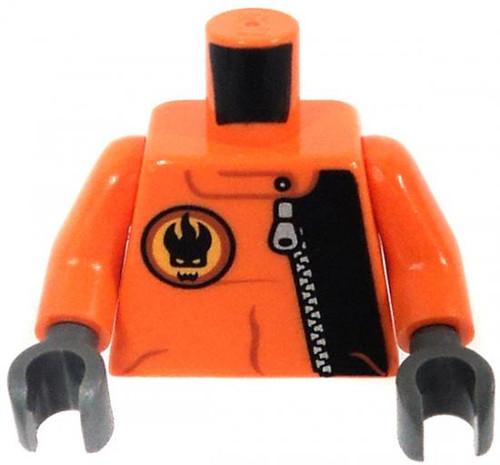 LEGO Agents Minifigure Parts Orange & Black Jumpsuit with Zipper & Flaming Skull Logo Loose Torso [Loose]