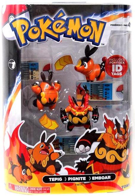 Pokemon Black & White Evolution Tepig, Pignite & Emboar Figure 3-Pack