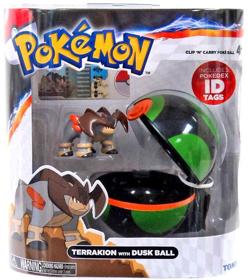 Pokemon Clip n Carry Pokeball Terrakion with Dusk Ball Figure Set