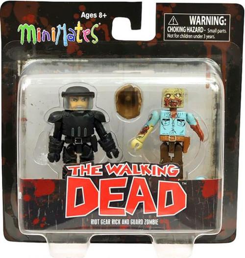 The Walking Dead Minimates Series 3 Riot Gear Rick & Guard Zombie Minifigure 2-Pack
