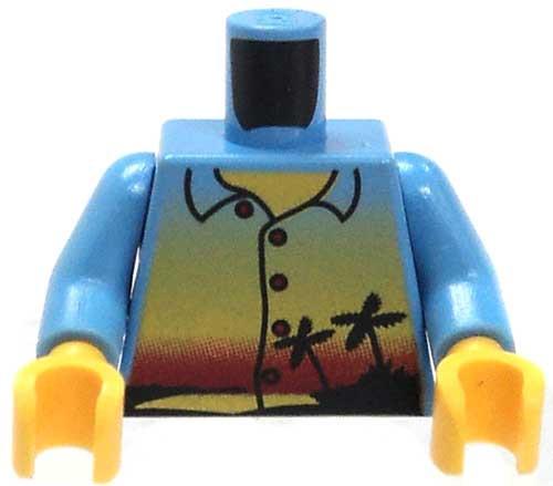 LEGO City Minifigure Parts Medium Blue Shirt with Palm Tree & Island Loose Torso [Loose]