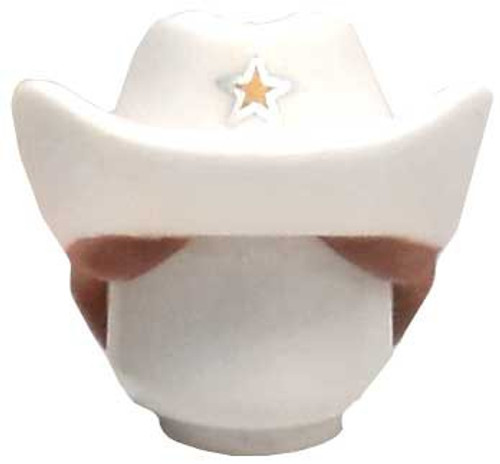 Toy Story LEGO Minifigure Parts White Sheriff's Hat with Brown Ponytail [Loose]