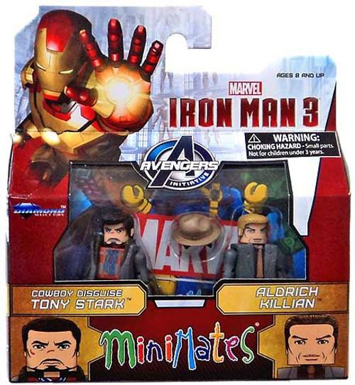 Iron Man 3 Minimates Series 49 Cowboy Disguise Tony Stark & Aldrich Killian Minifigure 2-Pack