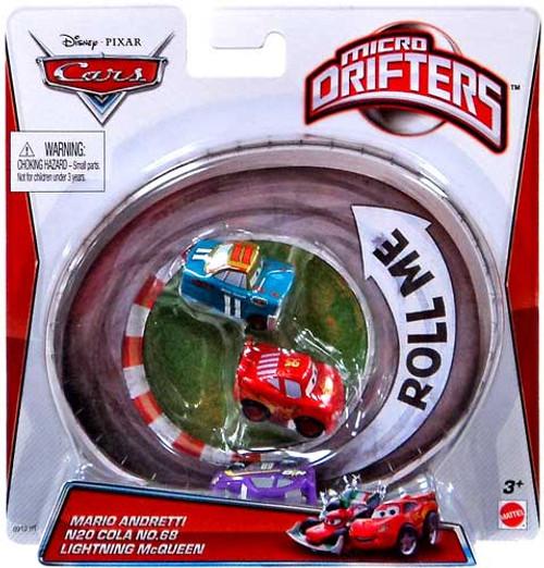 Disney Cars Micro Drifters Mario Andretti, N20 Cola No. 68 & Lightning McQueen Mini Cars