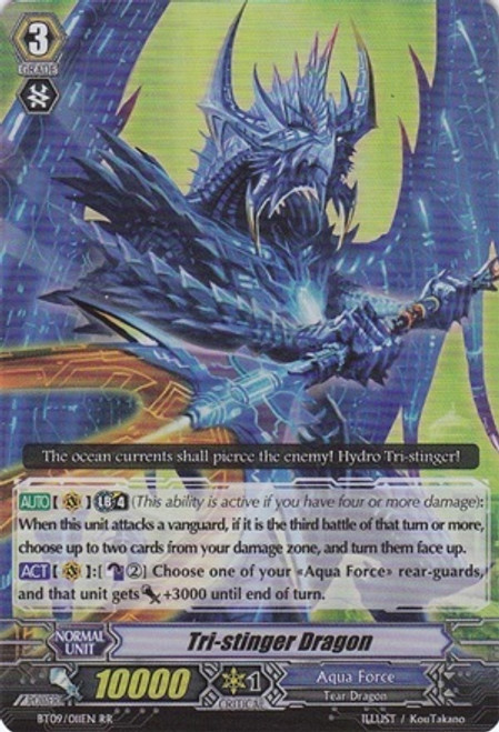 Cardfight Vanguard Clash of the Knights & Dragons RR Rare Tri-Stinger Dragon BT09/011