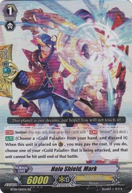 Cardfight Vanguard Clash of the Knights & Dragons RR Rare Halo Shield, Mark BT09/014
