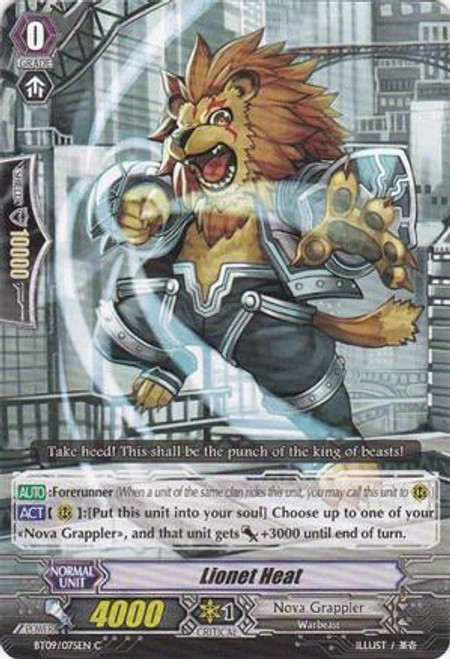 Cardfight Vanguard Clash of the Knights & Dragons Common Lionet Heat BT09/075