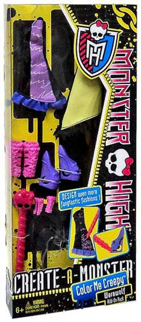Monster High Create-A-Monster Color Me Creepy Werewolf Add-On Pack 10.5-Inch