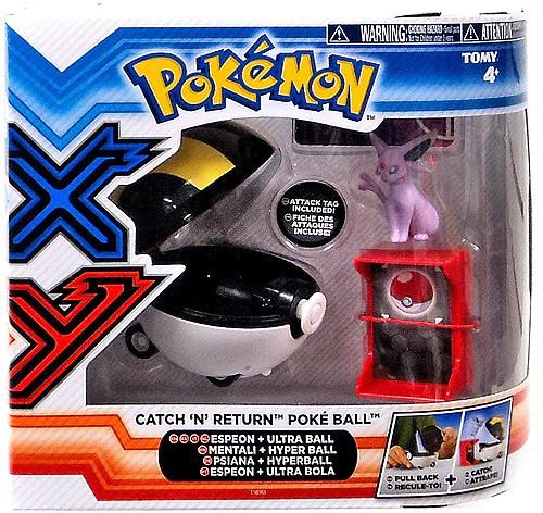 Pokemon TOMY Catch n Return Pokeball Espeon & Ultra Ball Figure Set