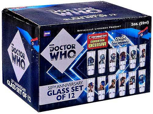 Doctor Who 50th Anniversary Set of 12 Color Changing Glasses