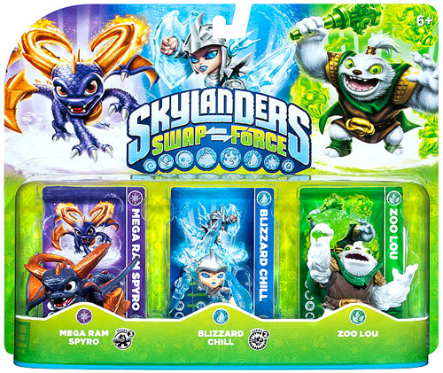 Skylanders Swap Force Mega Ram Spyro, Blizzard Chill & Zoo Lou Figure 3-Pack