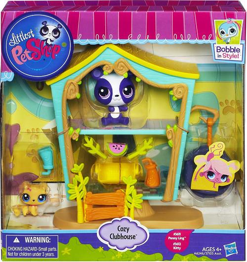Littlest Pet Shop Bobble In Style Cozy Clubhouse Figure Set #3611, 3612