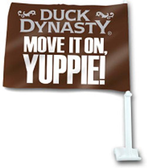 """Duck Dynasty """"Move It On, Yuppie!"""" Car Flag"""
