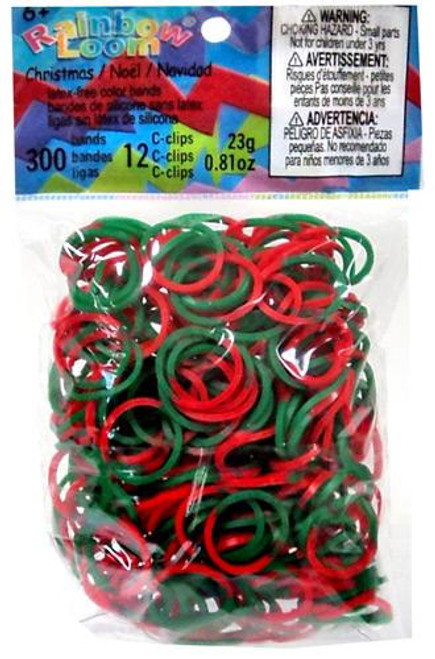 Rainbow Loom Green & Red Tie Die Christmas Rubber Bands Refill Pack RL36 [300 ct]