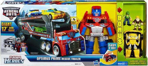 Transformers Rescue Bots Playskool Heroes Optimus Prime Rescue Trailer [Comes with Bonus Bumblebee & 2 Figures]