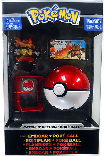 Pokemon TOMY Catch n Return Pokeball Emboar & Poke Ball Trainer's Choice Figure