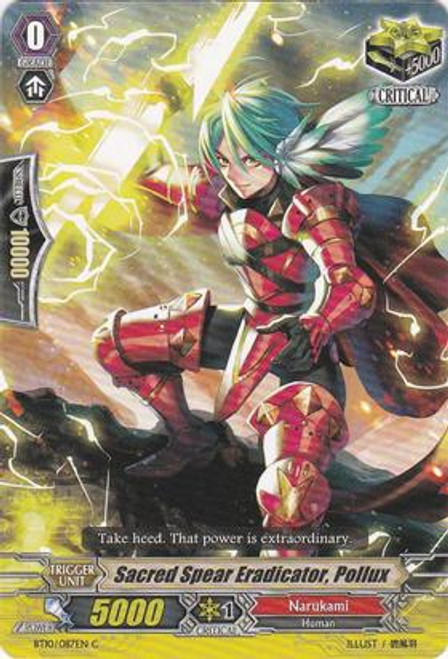 Cardfight Vanguard Triumphant Return of the King of Knights Common Sacred Spear Eradicator, Pollux BT10/087